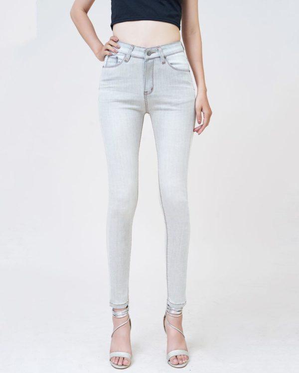 Quần jean nữ skinny lưng cao màu platium