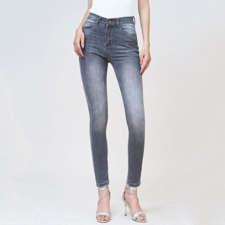 Quần jean nữ skinny lưng cao xám XM