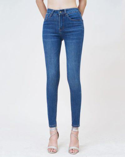 Quần jean nữ skinny lưng cao xanh midnight