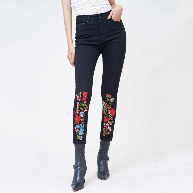Quần jean nữ slim lưng cao thêu màu đen