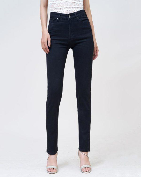 Hình Ảnh Quần jean nữ ống đứng Aaa Jeans lưng cao màu đen STDCTRNZC_BLI-1