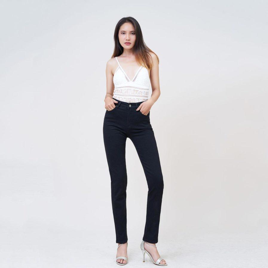 Hình Ảnh Quần jean nữ ống đứng Aaa Jeans lưng cao màu đen STDCTRNZC_BLI-5