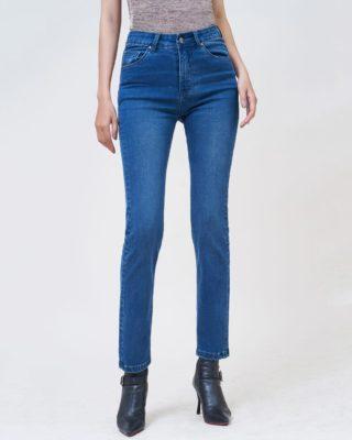 Hình Ảnh Quần jean nữ ống đứng dài lưng cao màu xanh đậm UR_STDCTRNZC_XDE-1