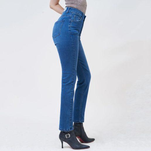Hình Ảnh Quần jean nữ ống đứng dài lưng cao màu xanh đậm UR_STDCTRNZC_XDE-2