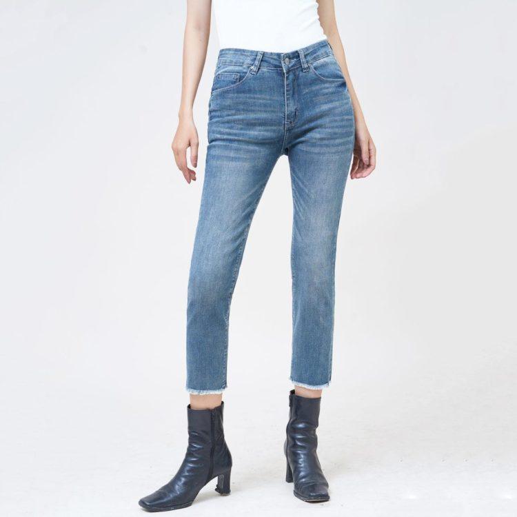 Quần jean nữ lưng cao ống đứng lửng gotham blue