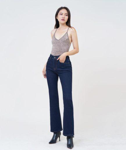 Quần jean nữ ống loe lưng cao xanh midnight