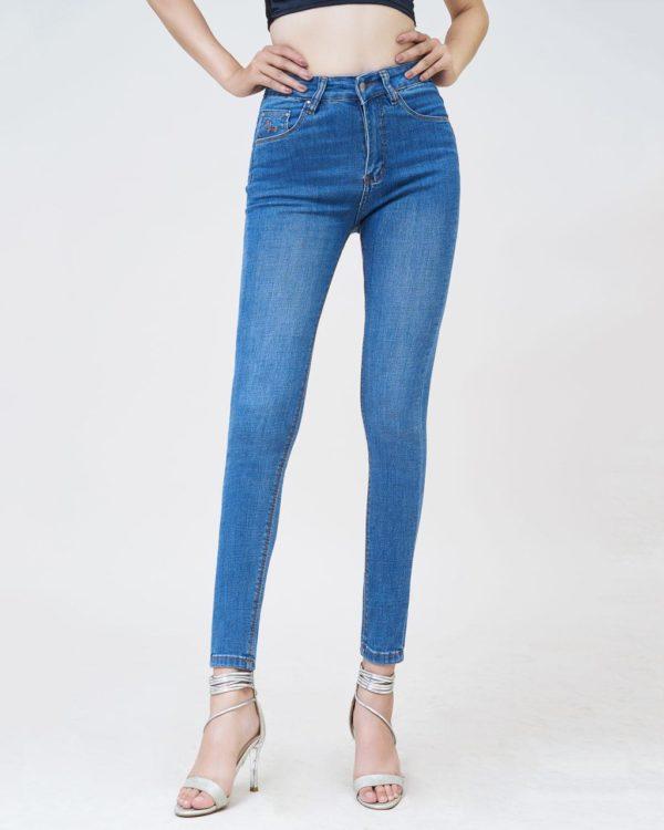 Hình Ảnh Quần jean nữ skinny lưng cao màu xanh dương - UR_SKDCTRNZC_XD2D-1