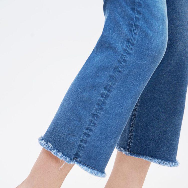 Quần ống vẩy ankle rách nhẹ tua line savoy blue