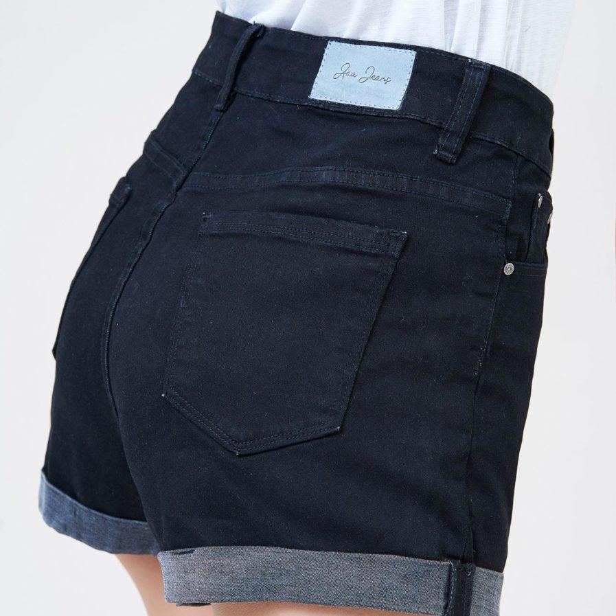 Quần Sooc Jeans Đen Lưng Cao Lật Line - UCSD RAYON