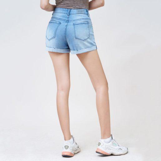 Quần short nữ lưng cao rách nhẹ lật line Savoy Blue UR_SOMCNRLZC_SVE-3