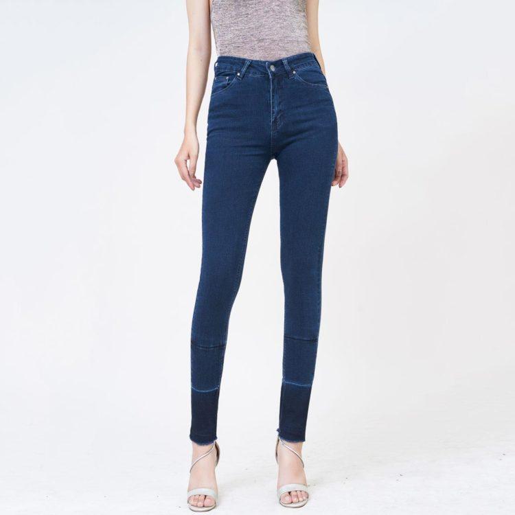Quần jean nữ skinny dài lưng cao màu xanh xd4