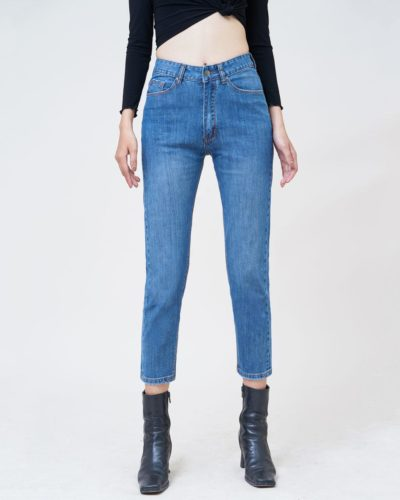 Quần jean nữ boyfriend lưng cao medium blue