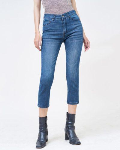 Hình Ảnh Quần jean nữ ống đứng lửng trơn màu army blue của Aaa Jeans