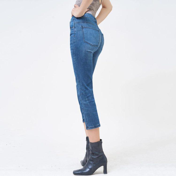 Quần jean nữ ống đứng lửng trơn màu army blue