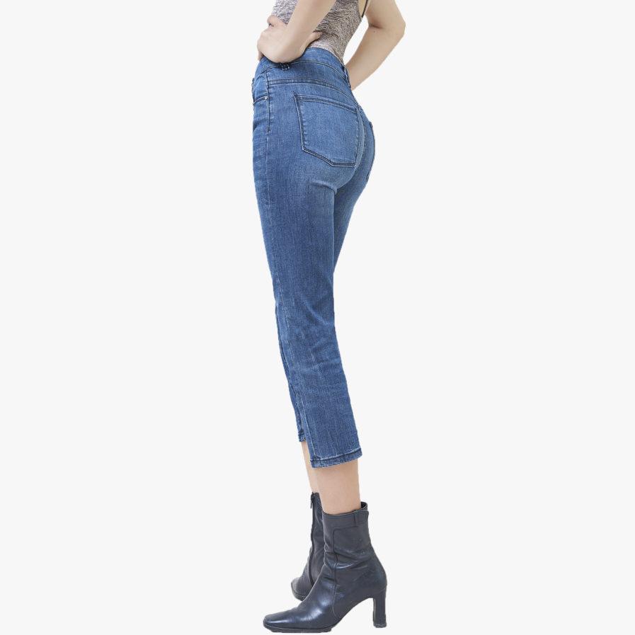 Quần Jean Nữ Aaa Jeans Ống Đứng Lửng Lưng Cao Màu Army Blue