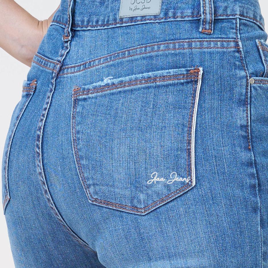 quan jean nu aaa jeans selvedge denim mau medium blue