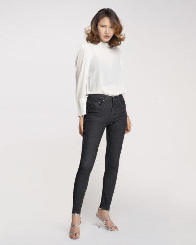 Hình ảnh Quần Jean Nữ Aaa Jeans Lưng Cao Đen Pepper-3