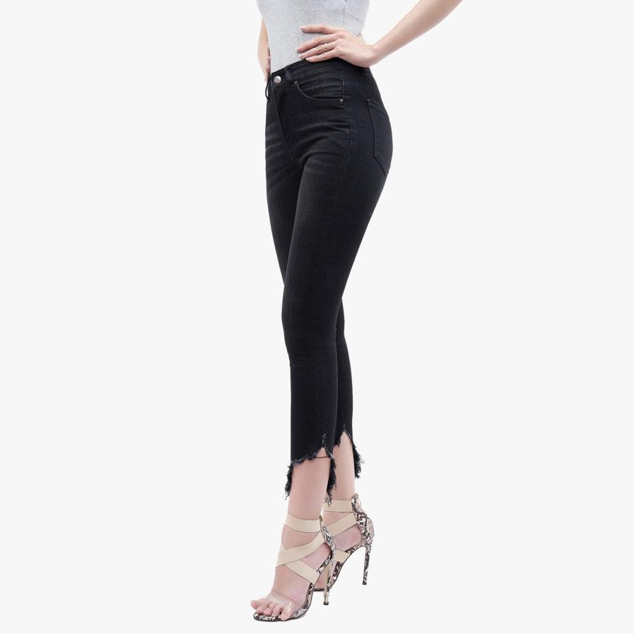 Hình ảnh sản phẩm quần Jean nữ Hiệu AAA Jean rách gau màu đen