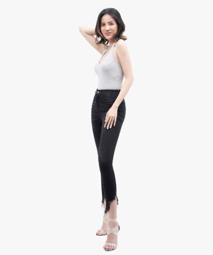 Hình ảnh sản phẩm quần Jean nữ rách gau lưng cao Hiệu AAA Jean