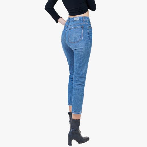 Hình ảnh Quần Jean Boyfriend cao cấp Hiệu AAA Jean màu xanh biển chụp góc nghiêng