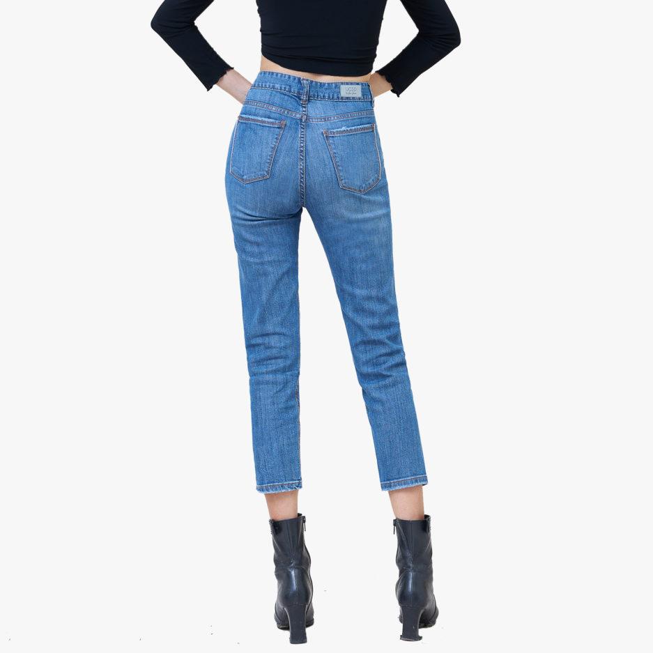 Hình ảnh Quần Jean Boyfriend cao cấp Hiệu AAA Jean màu xanh biển chụp phía sau