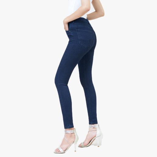 Hình ảnh sản phẩm Quần Jean nữ lưng cao Hiệu AAAJean màu xanh đen chụp góc nghiêng