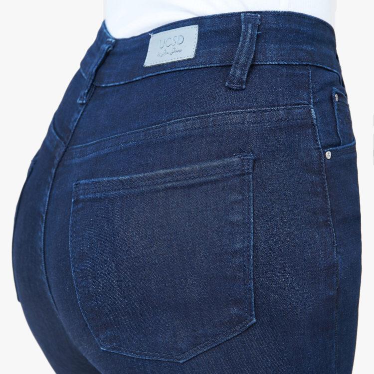 Hình ảnh sản phẩm Quần Jean nữ lưng cao Hiệu AAAJean màu xanh đen chụp hông phía sau