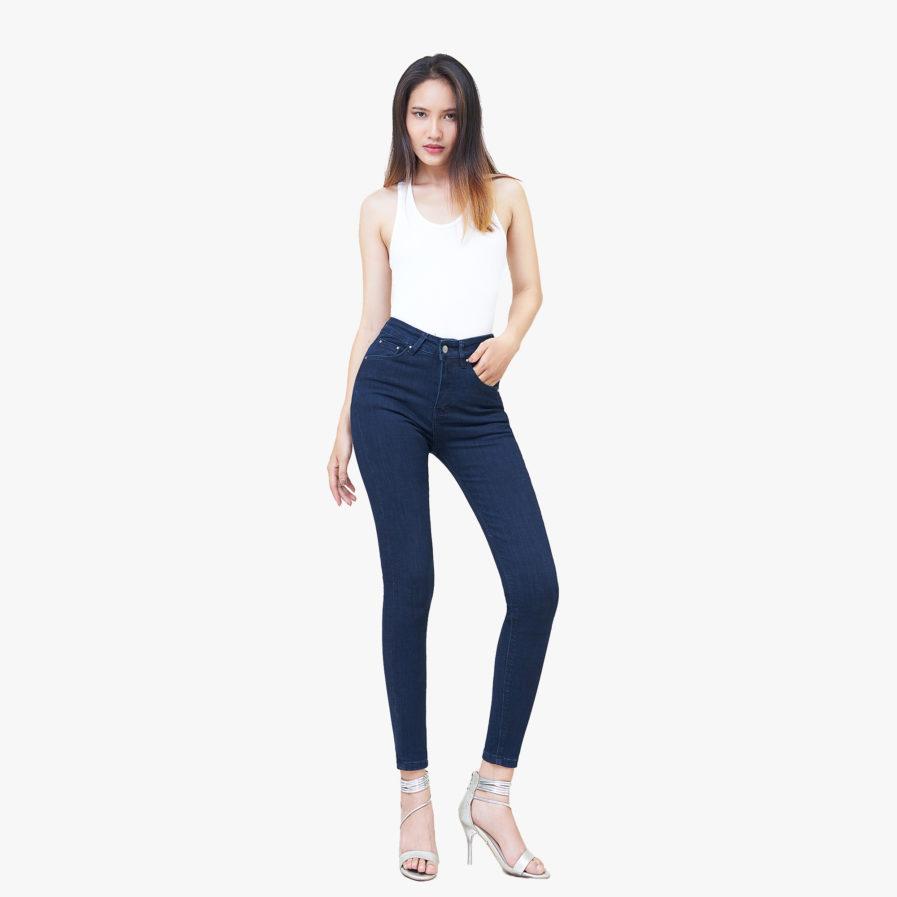 Quần Jean Basic Nữ Skinny Lưng Cao Xanh Đen - UCSD RAYON