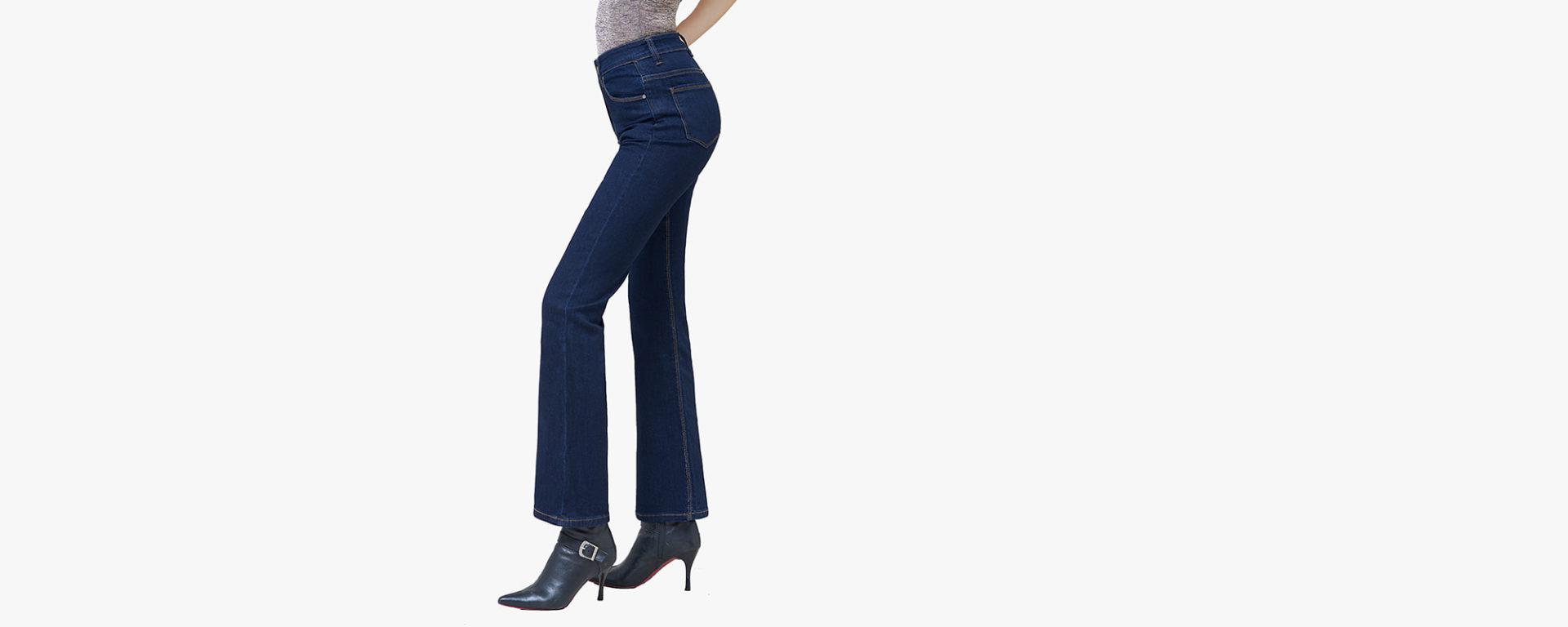 Hình ảnh banner quần jean nữ ống loe màu xanh đen