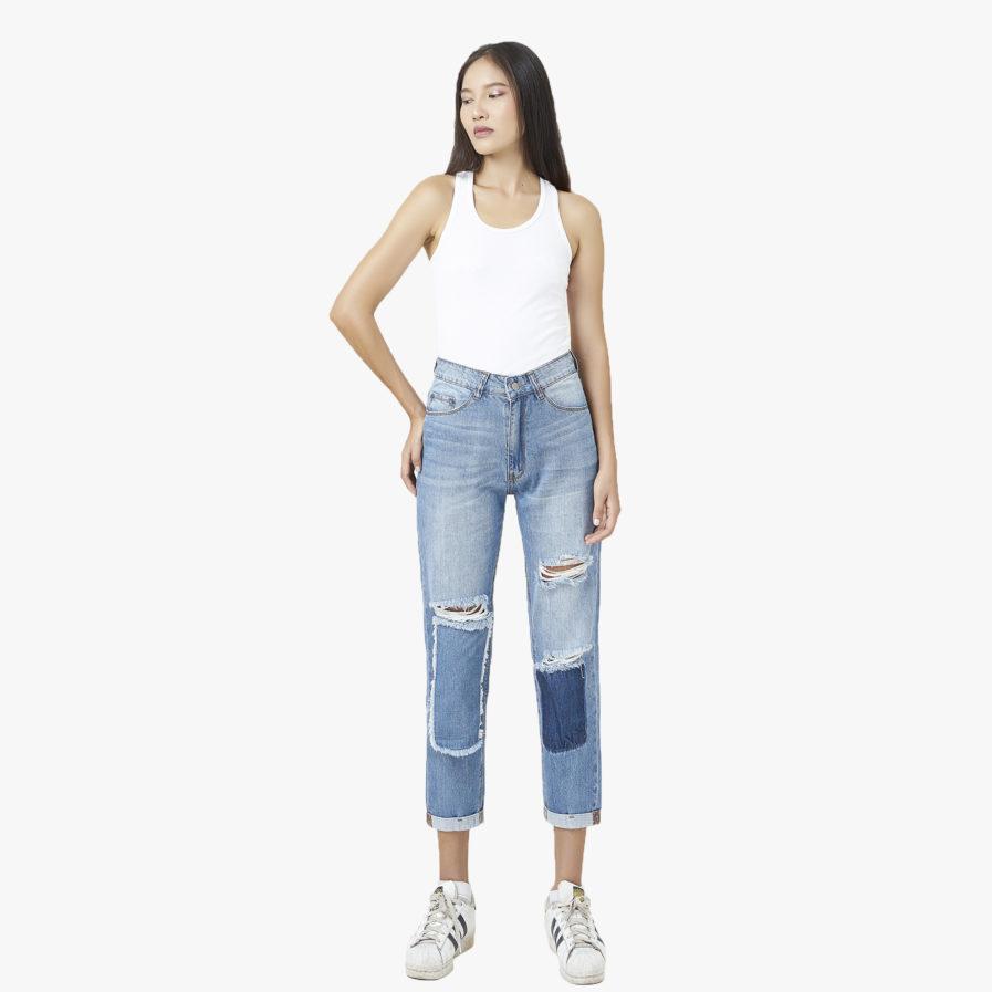 Quần Jeans Rách Bụi Lưng Cao Xanh Nhạt