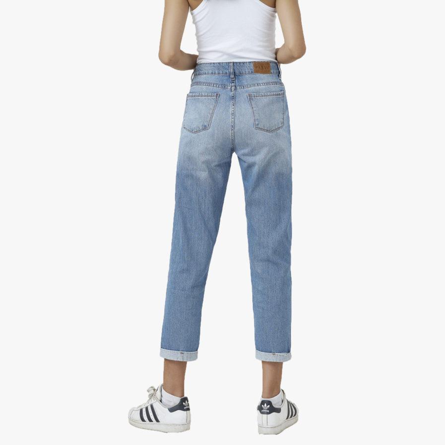 Quần Jeans Rách Lưng Cao Xanh Nhạt