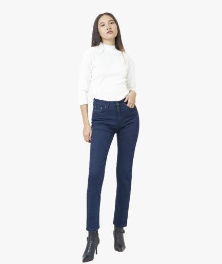 Quần Jean Nữ Aaa Jeans Ống Đứng Lưng Cao Xanh Đen