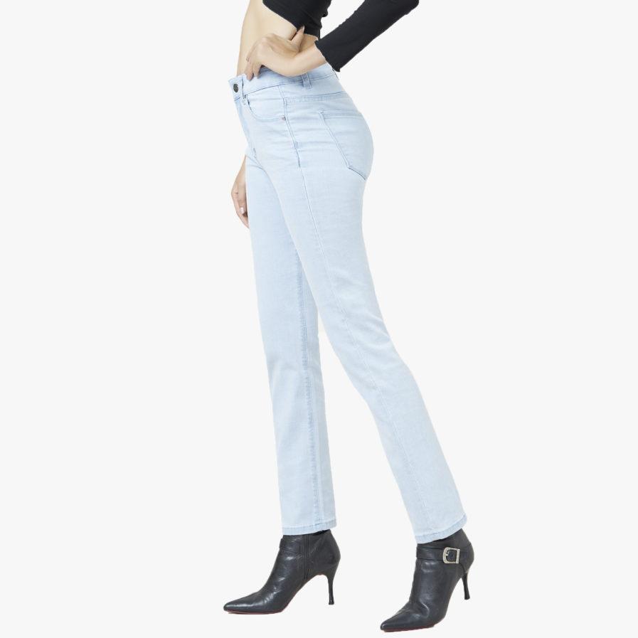 Quần Jean Nữ Aaa Jeans Ống Đứng Lưng Cao Xanh Sáng