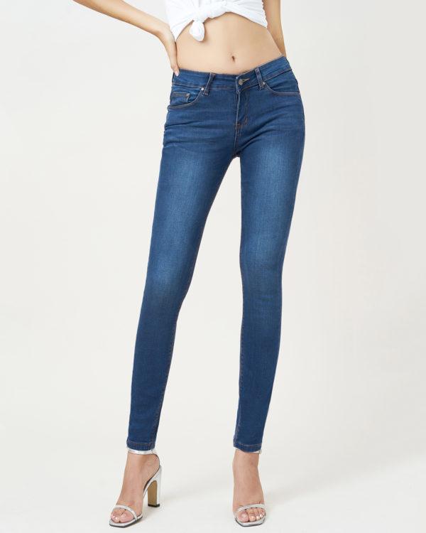 Hình ảnh sản phẩm quần Jean xanh trơn lưng vừa