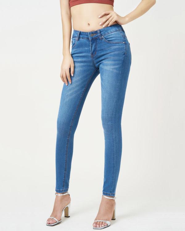 Hình ảnh quần Jeans lưng vừa màu xanh biển Hiệu aaajeans