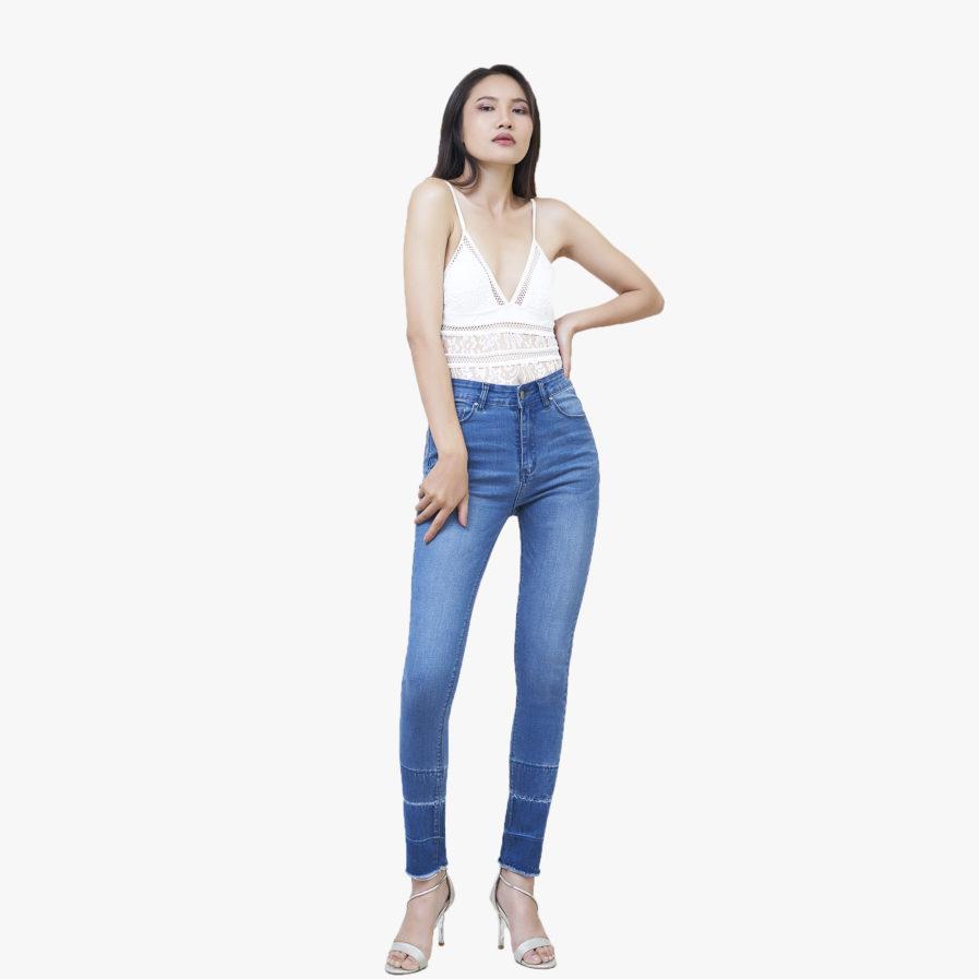 Quần Jean Lưng Cao Nữ Dáng Skinny Savoy Blue