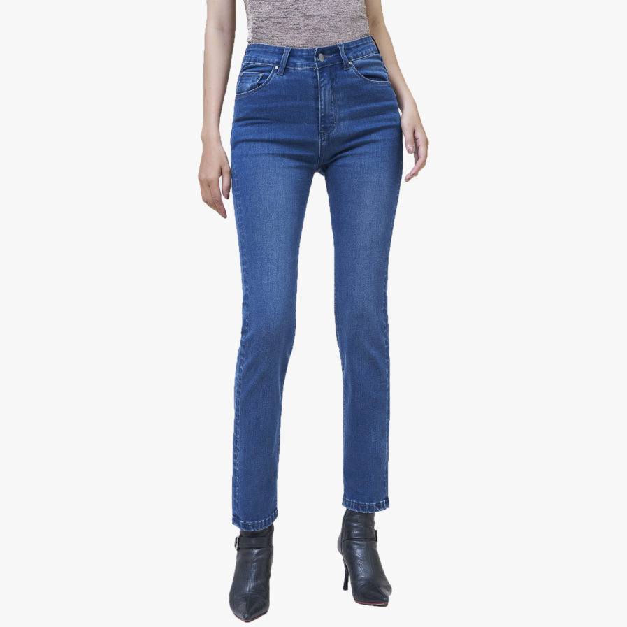 Quần Jean Nữ Aaa Jeans Ống Đứng Lưng Cao Xanh Đậm
