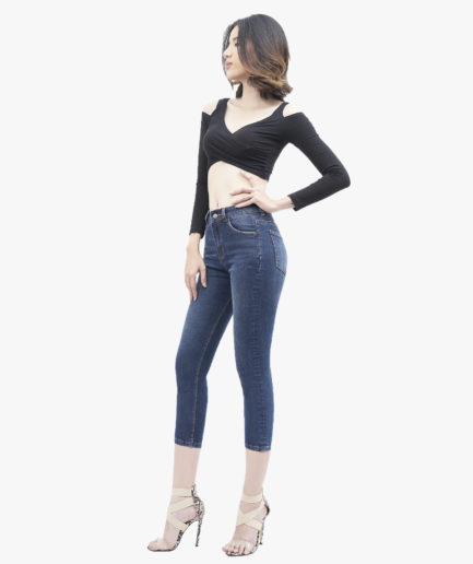 Quần Jean Nữ Aaa Jeans Lửng Dáng Skinny Lưng Cao Xanh Đậm