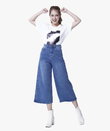 Quần Jean Nữ Aaa Jeans Lửng Ống Rộng Màu Xanh Dương