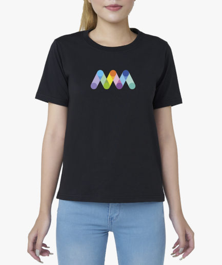 Áo Thun Nữ Đen Tay Ngắn Cổ Tròn In Logo Aaa Jeans