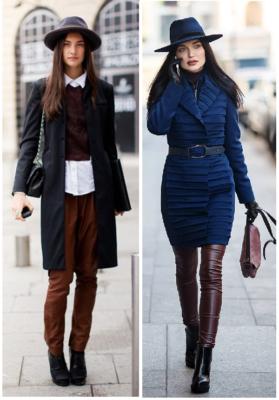 Váy/quần, áo khoác ngoài với mũ Fedora