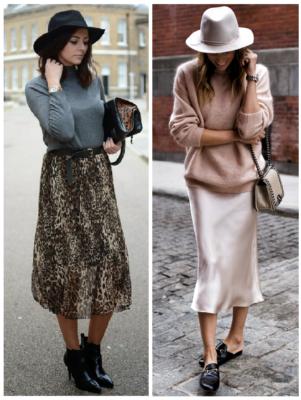Áo thun, chân váy với mũ Fedora
