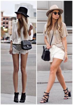 Áo phông/sơ mi, quần short với mũ Fedora