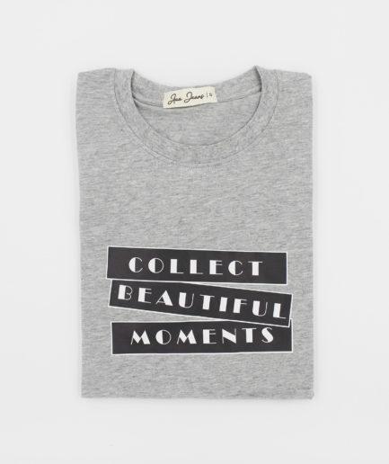Áo Thun Nữ Cổ Tròn Màu Xám Collect Beautiful Moments