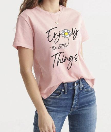 Áo Thun Nữ Cổ Tròn Màu Hồng Enjoy The Little Things