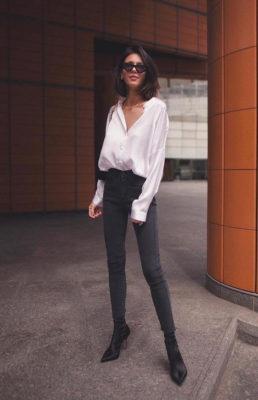 phối áo sơ mi với quần jeans